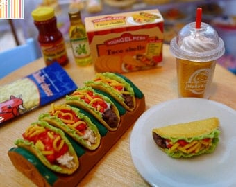 Miniature Tacos Dolls Food 1:6 Scale Beef, Chicken, Handmade by Nadia Michaux