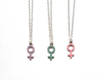 Feminist Necklace, Pastel Venus Symbol Necklace, Woman Symbol, Venus Symbol, Feminist Jewelry, Pink Venus Charm, Female Symbol, Nasty Woman