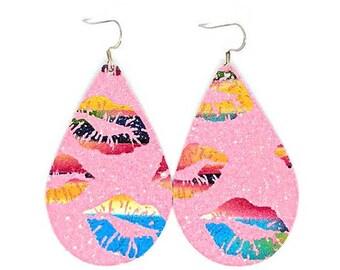 Valentines Earrings / Glitter Earrings / glitter canvas / faux leather
