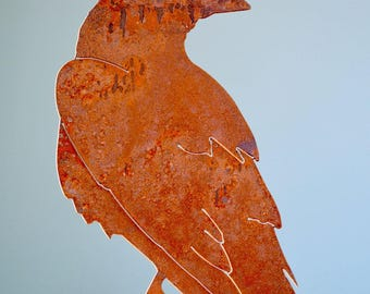 Rusty Metal Raven | Nevermore | Wild Bird Art | Bird Lovers Art | Odin's Raven | Raptor | Bird of Prey | Metal Garden Art | Bird Lover |B731
