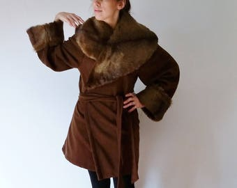 Brown Faux Fur Coat Women, Coffee Gift, Womens Winter Coats, Faux Fur Jacket with Oversized Collar and Cuffs, Christmas gift for her