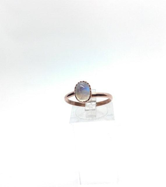 Simple Moonstone Ring | Rainbow Moonstone Ring | Copper Ring Sz 9.75 | Simple White Ring | June Birthstone Ring | Blue Moonstone
