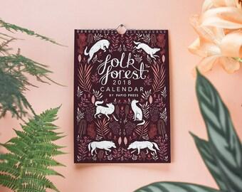 2018 Folk Forest Wall Calendar