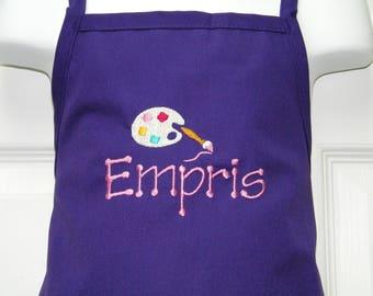 Personalized Embroidered Preschool Toddler K-6 Child Kids ARTIST Palette School Art Pottery Apron