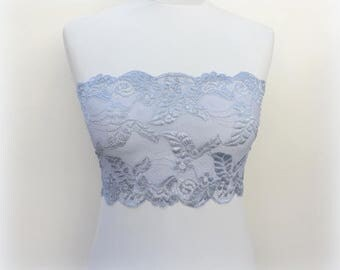 Steel gray floral lace bandeau top. Silver gray lace strapless. Steel gray lace tube top. Gray lace lingerie. Gift for her. Wireless bra.