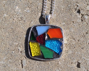 Rainbow Pendant Necklace Stained Glass Pendant Mosaic Rainbow Necklace Multicolored Mosaic Necklace Pendant Rainbow Stained Glass Jewelry