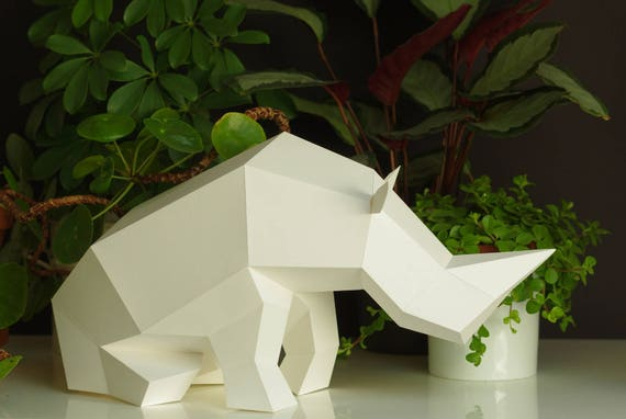 diy sculpture art sitting rhino paper sculpture diy papercraft set foldable