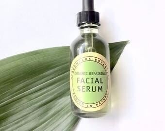Organic Facial Serum for Sensitive Skin - Calm, Soothe + Repair | Vegan Face Oil w. Argan, Turmeric, Helichrysum  | Eczema + Rosacea Safe