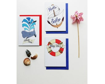 Set of three nautical themed, tattoo inspired greetings cards
