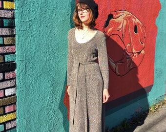 Metallic Sweater Dress / 70s Vintage Glam Lurex Sweaterdress / Women's Knit Long Sleeve Silver Midi Maxi Medium