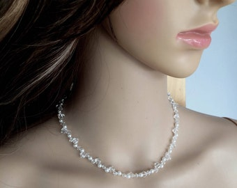 Swarovski crystal and pearl bridal necklace, Swarovski wedding necklace, cluster necklace wedding jewelry, designer bridal jewellery gift