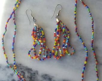 Seed Bead Necklace and Earrings