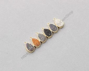 Tiny Druzy Waterdrop Bezel Pendants -- Druzzy Drusy With Electroplated Gold Edge Charms Dainty Wholesale Supplies CQA-078