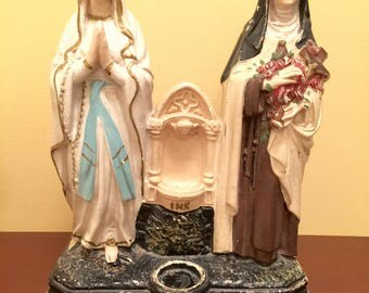 Vintage Catholic Blessed Mother & St Theresa Statue St Theresa of Little Flower Statue Virgin Mary 1925