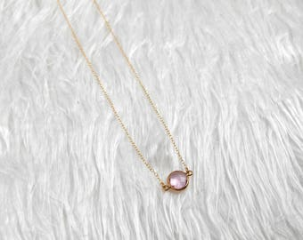 Charm Necklace | Gold Filled Necklace | Minimalist Necklace | Pink Charm Necklace | Dainty Chain Necklace | Gift For Her