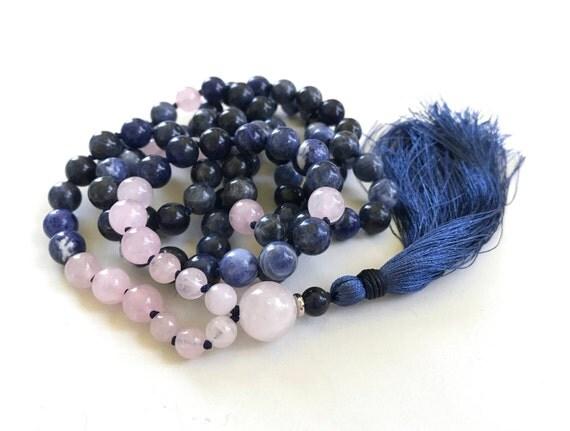 Sodalite Mala Beads, Mala For Inner Peace, Rose Quartz Mala Necklace, 108 Beads Plus Guru Bead, Mantra Mala, Yoga Meditation Beads