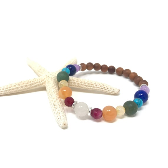 Chakra Healing Bracelet, 7 Chakra Colors, Yoga Jewelry, Matching Bracelet For Mala Beads, Spiritual Jewelry, Stretch Mala Bracelet
