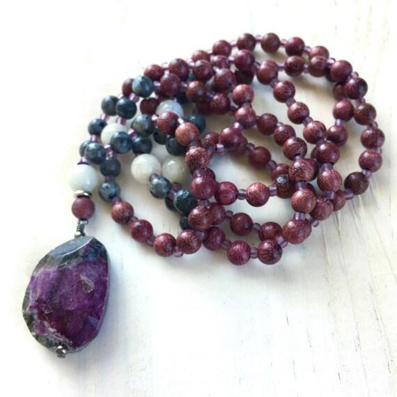 Mala For Emotional Awareness, Heart Chakra Mala, Stichtite Mala, Labradorite & Moonstone Mala, Peltogyne Wood Beads, Knotted Mala