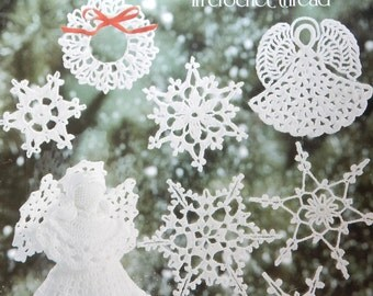 Christmas Ornaments & Snowflakes In Crochet Thread Crochet Patterns by Mary Thomas/Snowflakes, 7 in. Angel, Christmas tree decorations