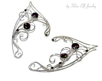 Dark Aurora Elf ears, elven ears for cosplay, ear jewelry for elf costume, elvish jewelry, fantasy jewelry with Swarovski crystals