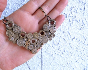 Vintage Newspaper Necklace Paper Rolls Triangular Pendant Recycled Jewelry  Eco-Friendly First Anniversary Gift FREE SHIPPING