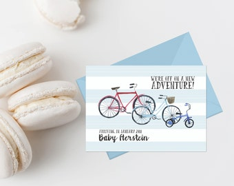 Bicycle Pregnancy Announcement Printable Pregnancy Reveal We're Expecting We're Off On A New Adventure Boy Baby Pregnancy Reveal Cards Blue