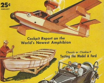 steampunk amphibian  plane glass boat model a ford cruiser train mechanics magazine cover