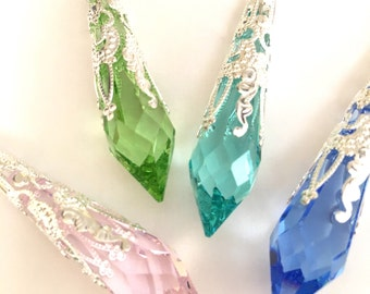 Swarovski Strass drop prism necklace, antique filigree pendant, crystal necklace, gifts for her, Christmas presents, victorian Mothers Day