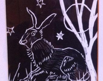 Original lino cut print:  Night hare.  Black and white art print.