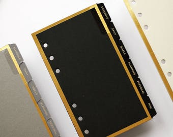 Personal Planner Dividers Gold Foil - Black Planner Inserts - Minimal Black Dashboard - Personal Dividers - LV Agenda MM / Filofax Personal