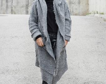 Gray Cardigan / Hooded Coat / Wool Coat / Winter Cardigan / Hooded Cardigan / Extravagant Top / Hooded Jacket / Coat / CARAMELfs T22517