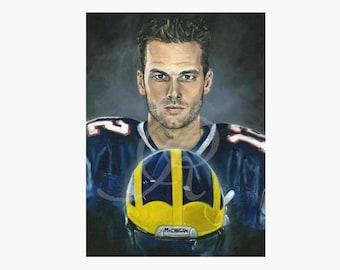 Tom Brady, Michigan football, New England Patriots, Print from an oil painting