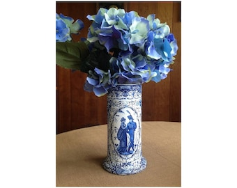 Ginger Jar Wedding Flower Vase, Blue & White French Country Transferware Centerpiece Vase, Chinese Style Vase, Wedding Decor Centerpiece