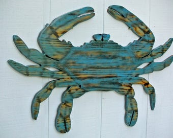Large Blue Crab Wood, Beach House Decor, Wooden Crab wall Art, Beach House Gift idea