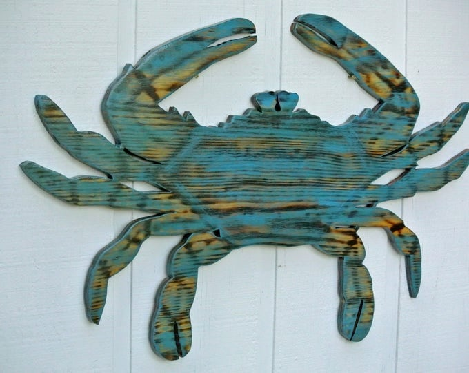 Large Crab Wood,Valentines/Wedding gift idea. Beach House Decor, Wooden Crab wall Art, Beach House wall sign Housewarming Gift idea