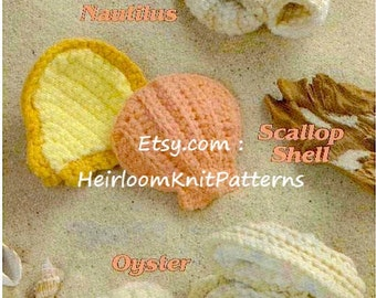 3 Designs Seashells Rare Vintage Crochet Pattern, Crochet By The Sea, Nautilus Scallop Shell Oyster Amigurumi Toy Instant download PDF- 1052