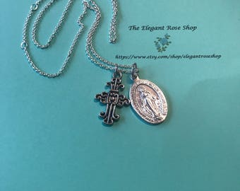 Miraculous Medal and Beautiful Cross Necklace