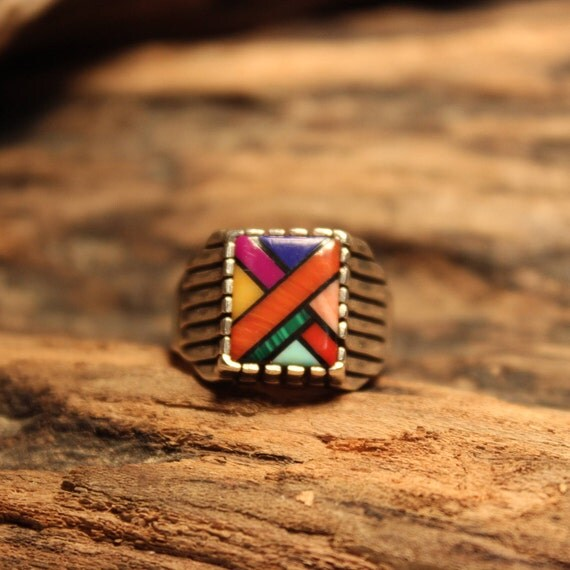 Zuni Mens Ring Signed Sterling Silver Size 8 Heavy 8.4 Grams Native American Turquoise Coral MOP Inley  Native American Vintage Mens Rings