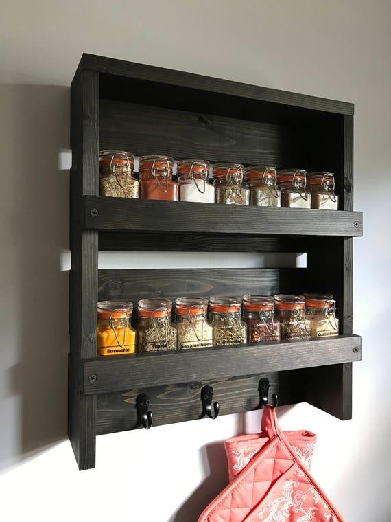 Wall Mounted Spice Rack spice rack hooks rustic spice rack wall mounted spice