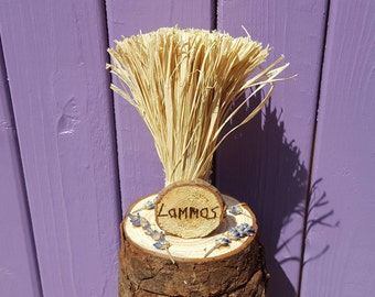 Lavender Lammas Decor, Pyrographed Sign, Harvest Decoration, Lughnasadh Gift, Pagan Altar, Wiccan Home Decor, Wheel of the Year, Wheat Sheaf