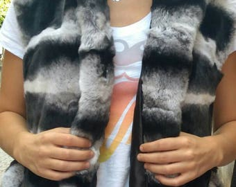 NEW! Natural,Real Hooded  Rex chinchilla Fur Vest!
