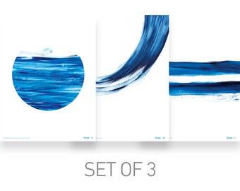 three piece wall art, set of 3 prints, blue prints set, wall art prints set of 3, beach decor, summer home decor, living room decoration
