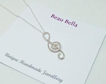 Treble Clef Pendant, Musical Note Necklace, Music Teacher Gift, Music Lover Gift, Musician, Singer, Choir, Birthday Gift, Sterling Silver