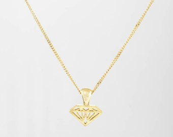 Gold diamond necklace, Diamond Shaped Necklace ,14K solid gold diamond shaped pendant with 14K solid gold Necklace