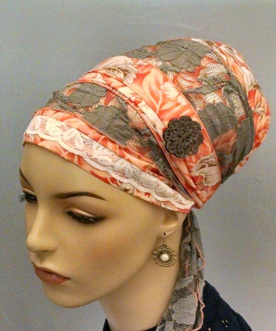 Orange cotton and lace sinar tichel,  tichels, chemo scarves, head scarves, hair snood