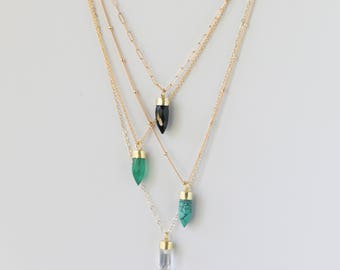 Crystal Point Long Gold Necklace - Turquoise Pendant Necklace - Quartz Gemstone Jewelry - Gold Fill Gemstone Pendant Necklace - Gift for Her