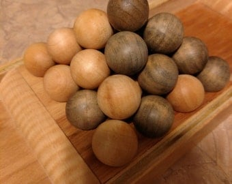 "Pylos Game - Hand Crafted Hickory includes 1""  Games Pieces (Balls)"