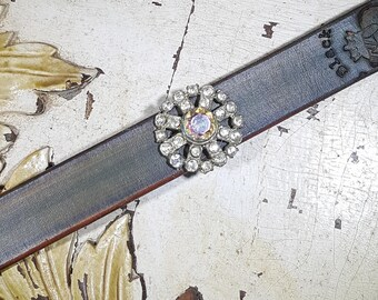 V9 Vintage/Antique Steel Cut Swarovski Crystals On Handcrafted Leather Cuff  One-of-a-Kind Classy!
