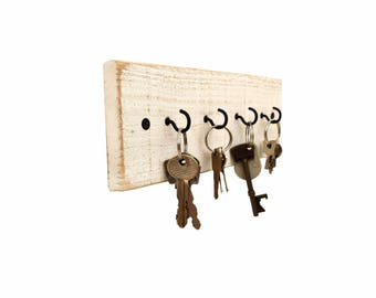 Shabby Chic Key Holder - key hanger key hook rack key rack key hooks wood wall hooks wall decor rustic wall hooks farmhouse white distressed
