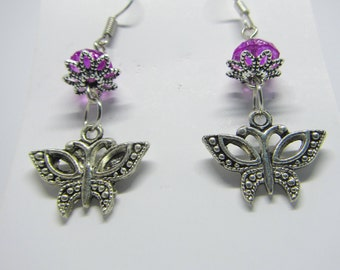 Butterfly earrings, spring, summer, cheerful, handmade, flower, limited edition, gift for her, silver earrings, bead,